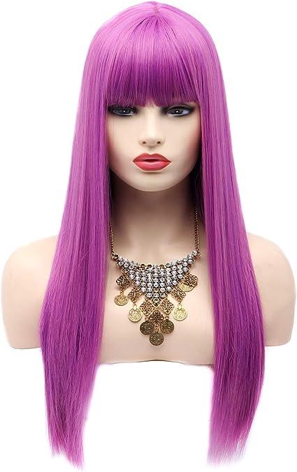 BESTUNG Pelucas de Cosplay para las mujeres de 22 pulgadas de largo sintético peluca de pelo completo con flequillo para disfraz o vida diaria