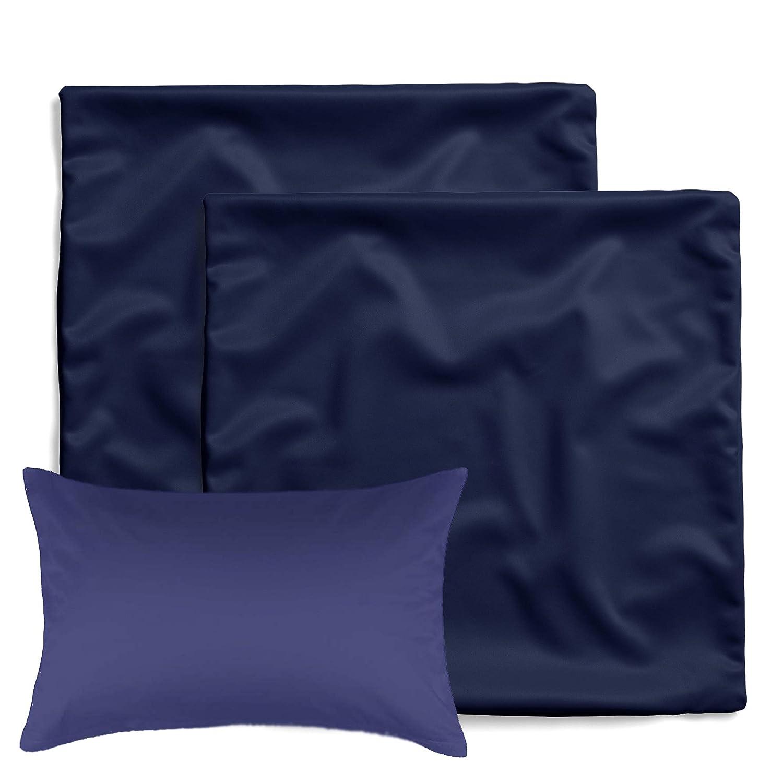 amato Home - Pack de 2 fundas de cojín / almohada cuadrada - Decoración para cama y sofá - 100% algodón - Apto para dormitorio infantil, azul, 40 x 60 ...
