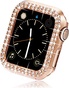 Surace 40mm Case Compatible with Apple Watch Case, Bling Frame Protective Case Replacement for Apple Watch Series 6 Series 5 Series 4 40mm Compatible with Apple Watch SE, Rose Gold