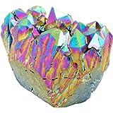 QGEM Natural Titanium Coated Rainbow Rock Crystal Quartz Cluster Druzy Geode Specimen,Mineral Gemstone Ornament Decor 0.2lb-0.4lb
