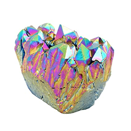 QGEM Natural Titanium Coated Rainbow Rock Crystal Quartz Cluster Druzy  Geode Specimen,Mineral Gemstone Ornament Decor 0 2lb-0 4lb