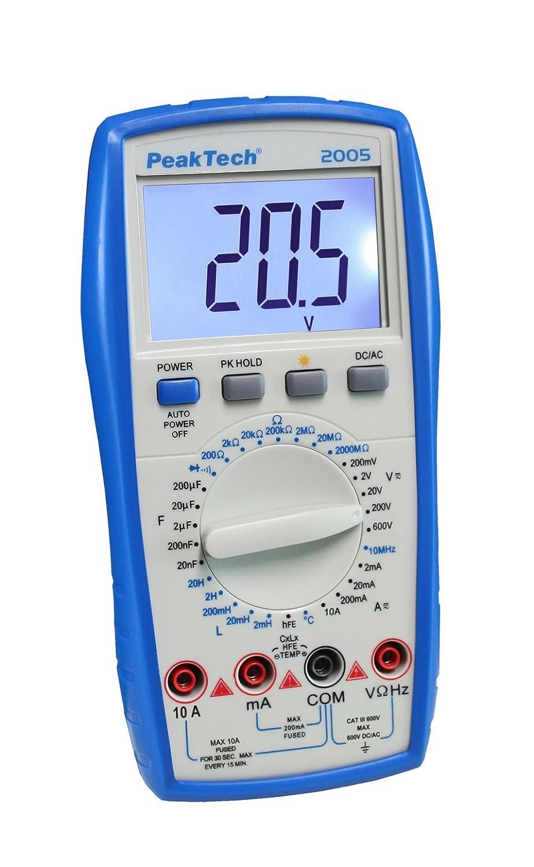 /Cat III 600/V 1/pieza P 2005 /Mult/ímetro digital de 3/1//2/d/ígitos con rango de manual Elecci/ón/ PeakTech/
