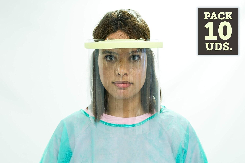 Oedim Pack de 10 Unidades Protección Facial Transparente 35,6x23,5cm | Visera de Protección Fabricada en España | Evita Contagios