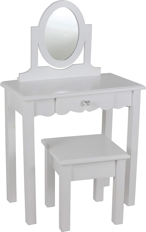 Decor Therapy Vivian White Vanity with Mirror, 22x12x36,