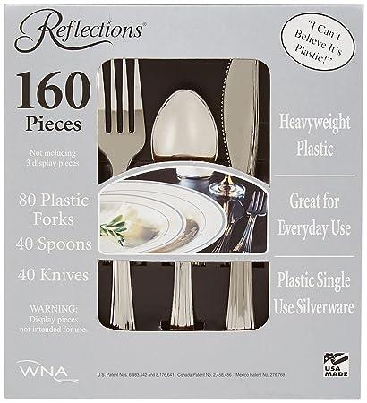Reflections Heavyweight \u0026quot;Looks Like Silver\u0026quot; Disposable Flatware ...  sc 1 st  Amazon.com & Amazon.com | Reflections Heavyweight \
