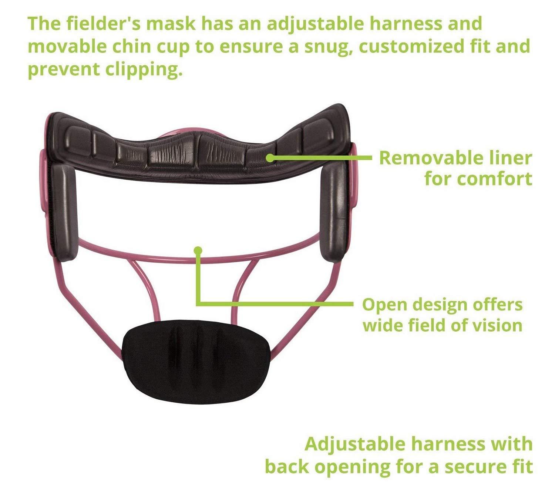 Champion Sports Softball Fielders Face Mask Adult Size Pink Bundle