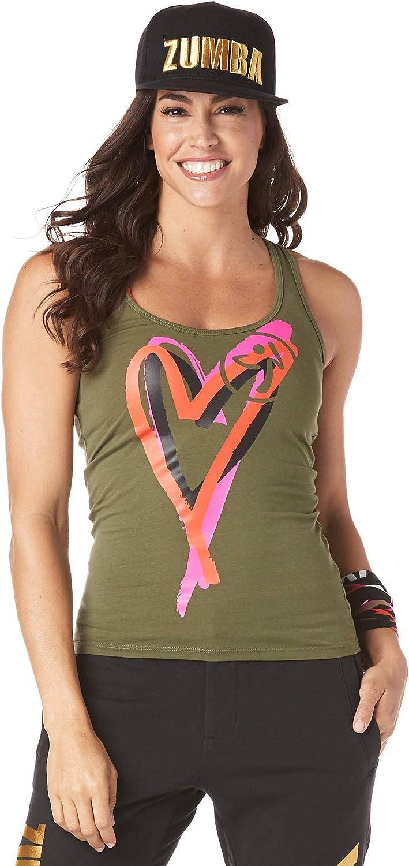 Zumba Camicia Allenamento Senza Maniche con Cinturini e Grafica per Donna