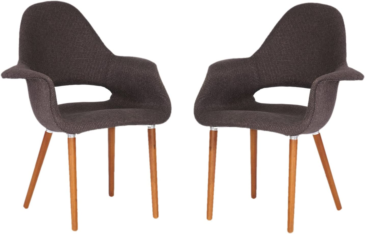 Baxton Studio Forza Fabric Mid-Century Modern Arm Chair, Dark Brown, Set of 2