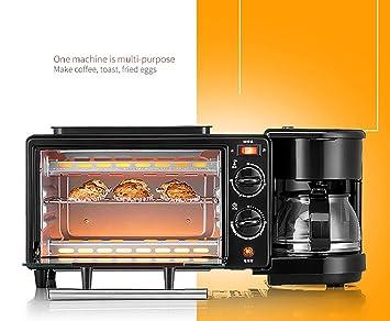 DSYLD Máquina de Desayuno Mini Multi función Máquina de Desayuno Tres en uno para Hacer Tostado de café Frieding Acero Inoxidable Negro Usado en Cocina ...
