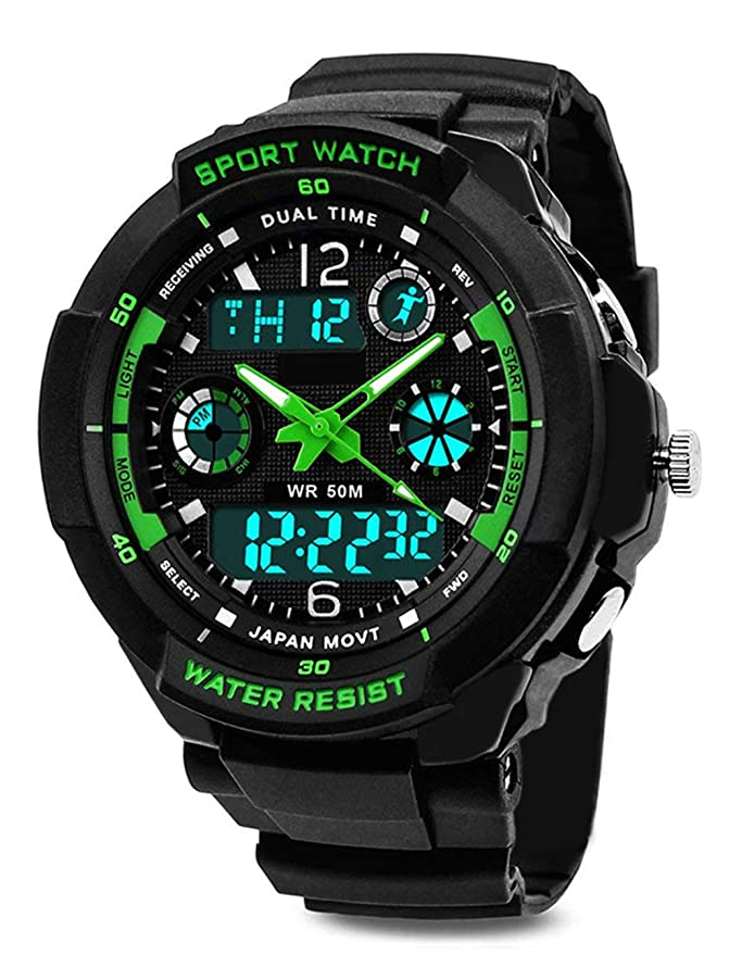 Reloj digital para niños con 12/24 horas/Alarma/cronómetro, niños deportes al aire libre analógico relojes de pulsera para adolescentes niños regalos verde: ...