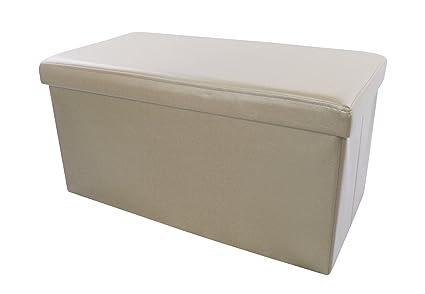Pouf rettangolare beige contenitore scatola sgabello poggiapiedi