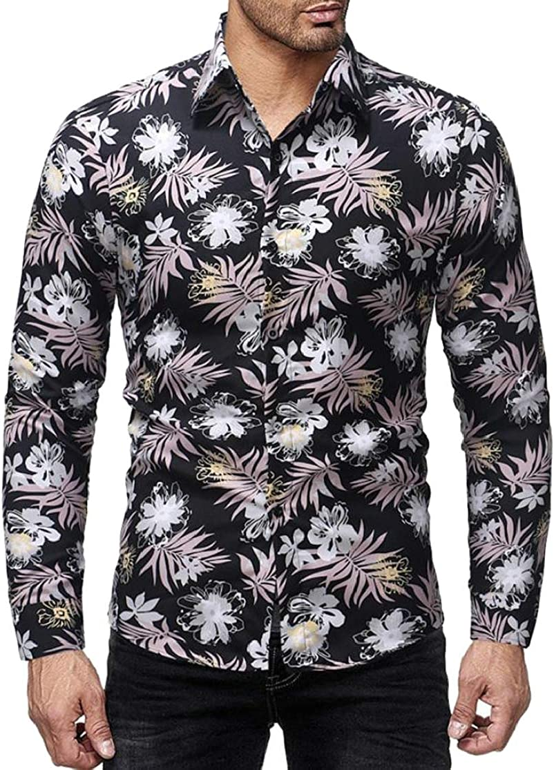 Cromoncent Mens Long Sleeve Turn Down Floral Digital Print Button Up Shirts