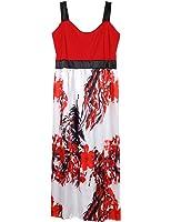 AMZ PLUS Womens Sleeveless Sling Print Long Swing Dress