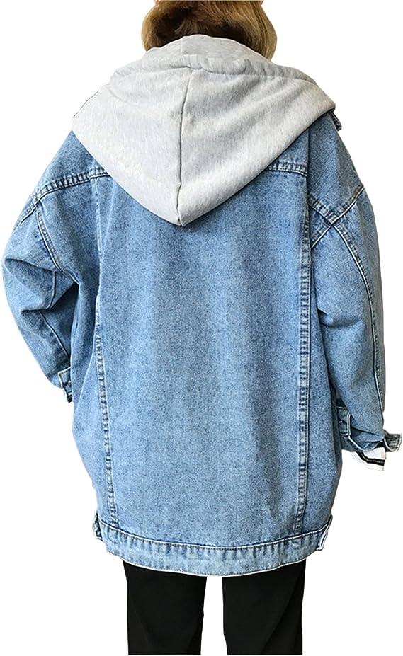 Golden/_flower Anime Denim Jacket Hoodie Jacket Adult Cosplay Jeans Coat Loose Cardigan Hole Fake Two Pieces Denim Hooded Jacket Unisex1 Dark Blue s