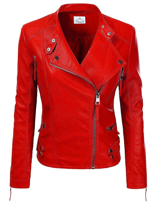 VearFit Women Jacqueline Red, Gray, Black Designer Real Lambskin Leather Jacket HF16-W44