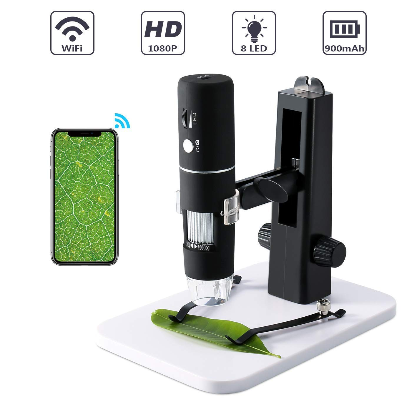 Wireless Digital Microscope,ROTEK WiFi USB Microscope Camera 50x and 1000x Zoom 1080P with Professional Lift Stand,Pocket Microscope with 8 LED Light Compatible for iPhone Android, iPad Windows MAC by ROTEK