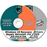 Ezalink Recovery Disc Set Compatible w/ Windows 10 Home & Professional 32 & 64-Bit Install, Restore, Repair, Boot, Fix…