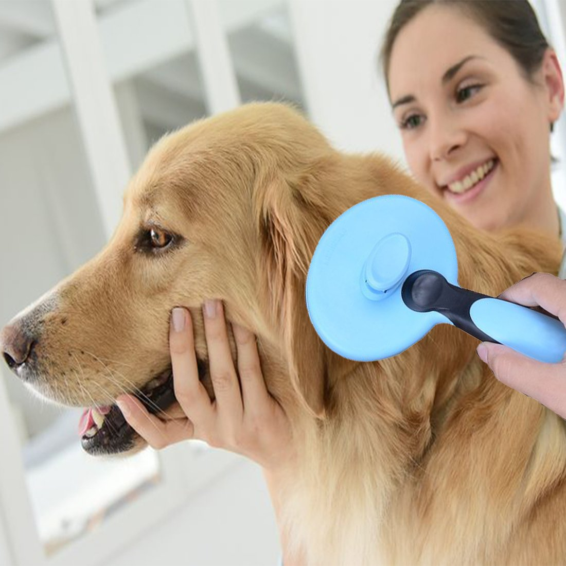 JAchoice Slicker Brush Self Cleaning Pet Grooming Comb Long Hair Pets Brush Ball Type Stainless Steel Comfortable & Safe Pet Hair Removal Brush for All Dogs Cats Rabbits with Long Thick Hair