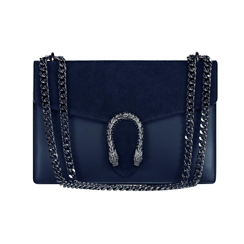#MYITALIANBAG RONDA Umhängetasche Handtasche mit Kette und Schließen von Zubehör metallischen dunklem Nickel, Glatteleder und Wildleder, Hergestellt in Italien 71045GREGE