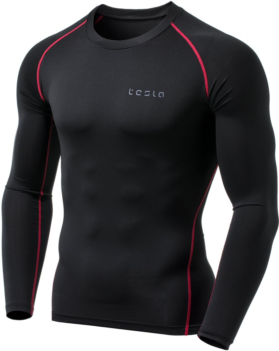 TSLA Men's Thermal Wintergear Compression Baselayer Long Sleeve Top, Thermal Athletic(yud34) - Black & Red, Large by TSLA