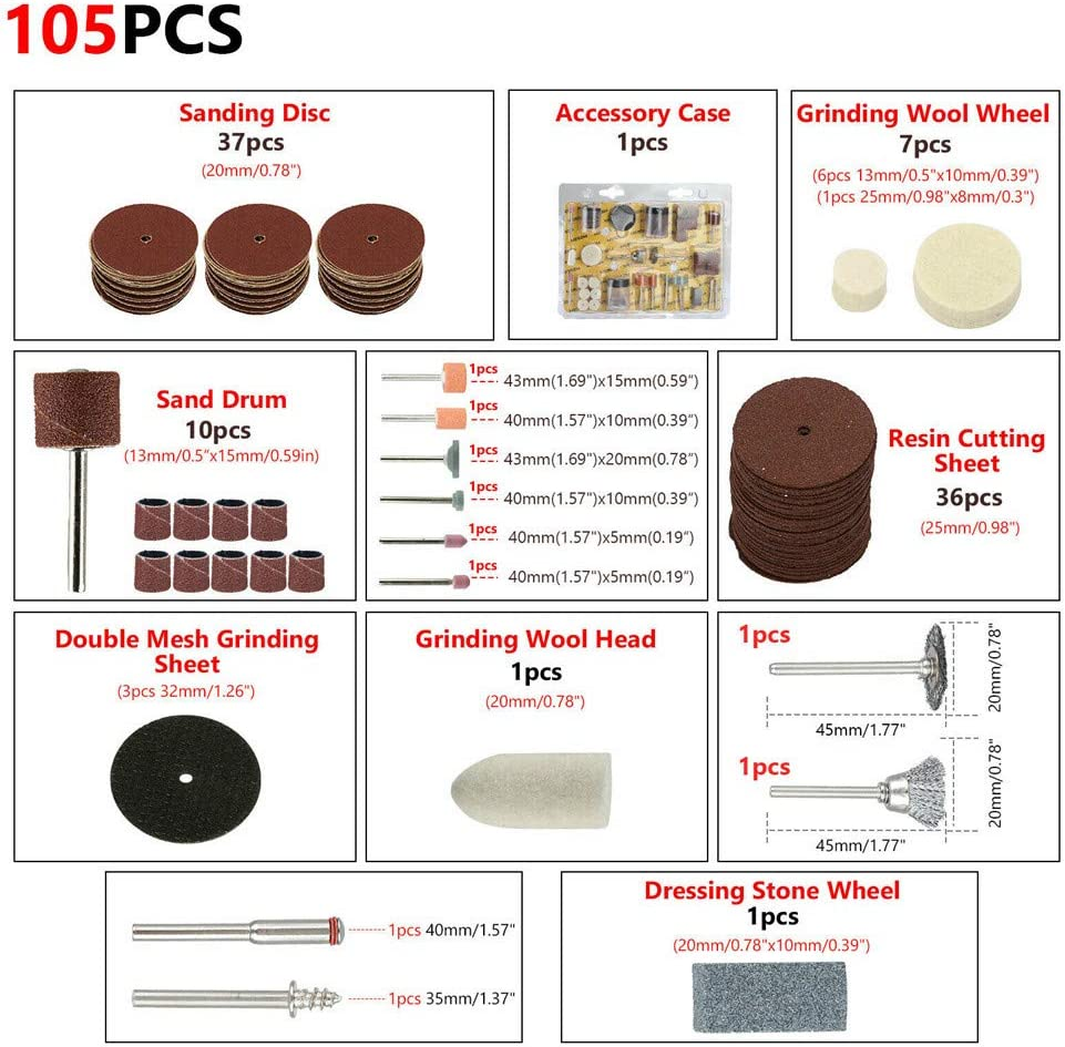 Kit De Accesorios Para Herramientas Rotativas De 105 Piezas Puntas De Anillo De Lijado Universal Adaptador Para Lijado Lijado Lijado Afilado Corte Tallado Pulido Grabado