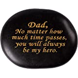 Ueerdand Unique Gifts for Dad - Fathers Day Birthday Wedding Gifts Pebble Stone for Papa from Daughter or Son, Dad, No Matter How Much time Passes, You Will Always be My Hero Engraved Rock
