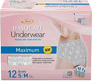 HASOCARE Microfin Brand Incontinence Underwear for Women, Maximum Absorbency, Samll/Medium, 12 Count