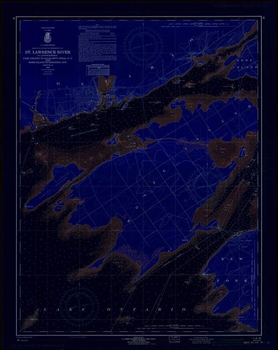 Vintography Blueprint Style 18 x 24 Reprint of 1959 Nautical Chart ST. Lawrence River, ST. Lawrence Seaway, Cape Vincent to Allan OTTY Shoal, N.Y. and Howe Island to KINGTONS, ONT. by Lake Survey NY
