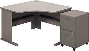 Bush Business Furniture Series A Corner Desk with 2 Drawer Mobile Pedestal, Pewter