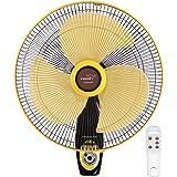 V Guard Industries Ltd Finesta Rw 400Mm Remote 3 Blade Wall Fan (Yellow&Black) (Yellow)
