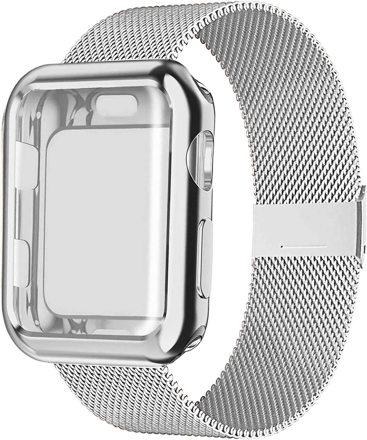 SinJonden Compatible with Apple Watch Band 38mm 40mm 42mm 44mm with Case,Stainless Steel Wristband with Protective Screen Case for iWatch Series 6/5/4/3/2/1/SE (Silver with Silver Case, 38mm)