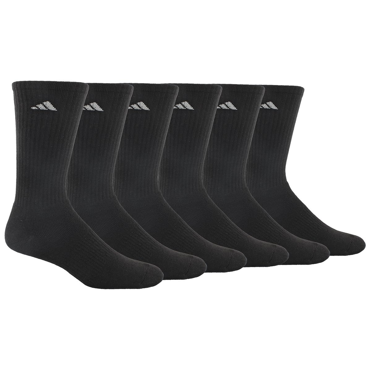 adidas Men's Athletic Crew Sock, Black/Aluminum 2, Pack of 6, Fits Shoe Size 6-12 by adidas