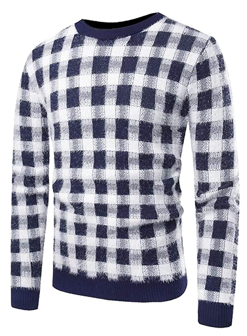 Heless Mens Fluffy Round Neck Casual Plaid Knitted Pullover Sweaters Jumper