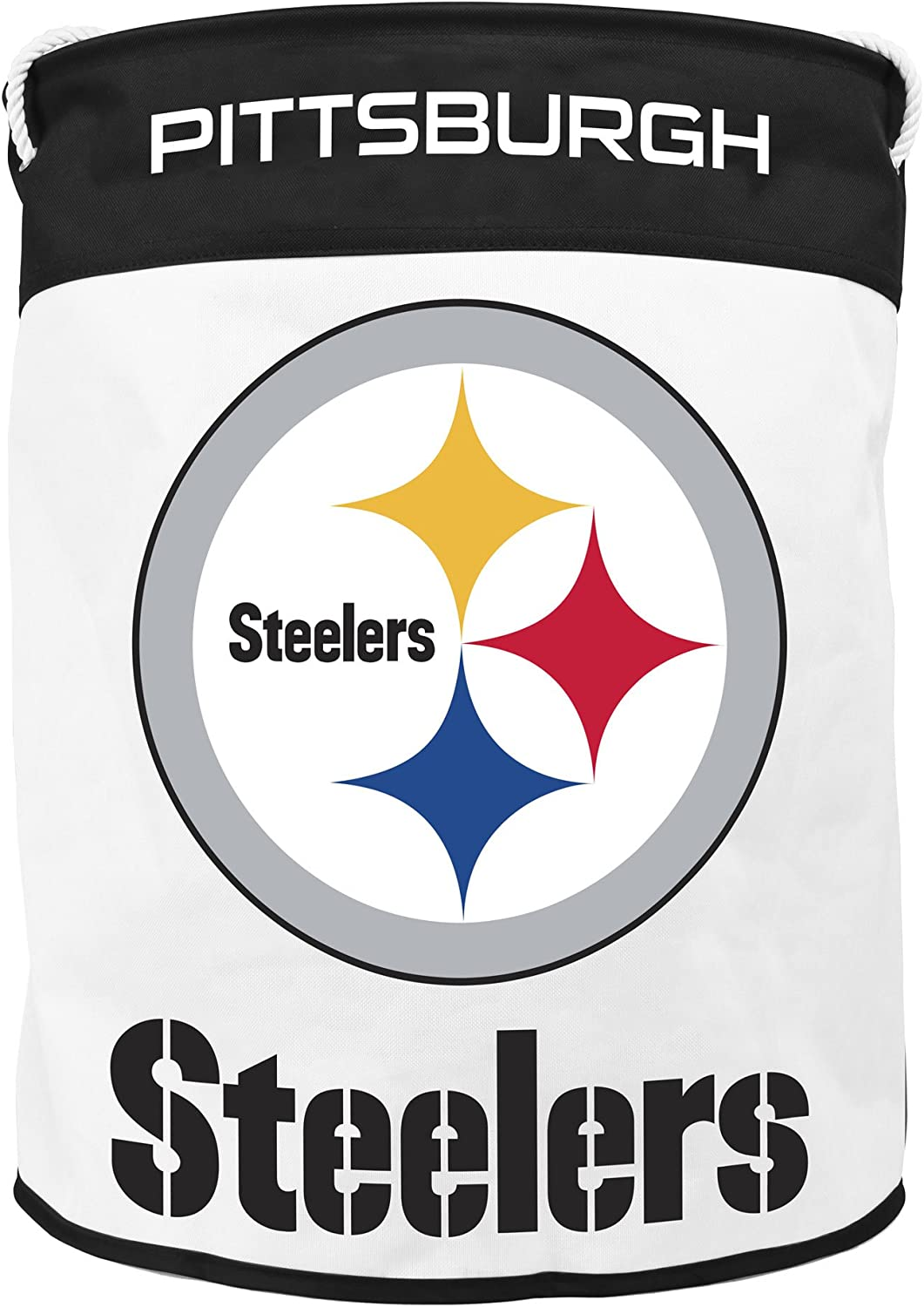 NFL Pittsburgh Steelers Canvas Laundry Basket with Braided Rope Handles