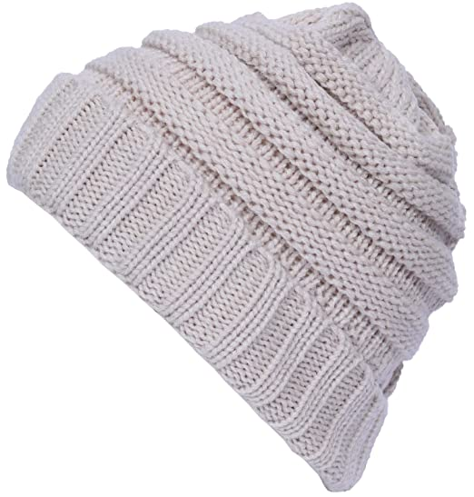 e9f7c7ff8 Yuhan Pretty Womens Slouchy Beanie Hat Winter Thick Cable Knit Chunky Ski  Cap