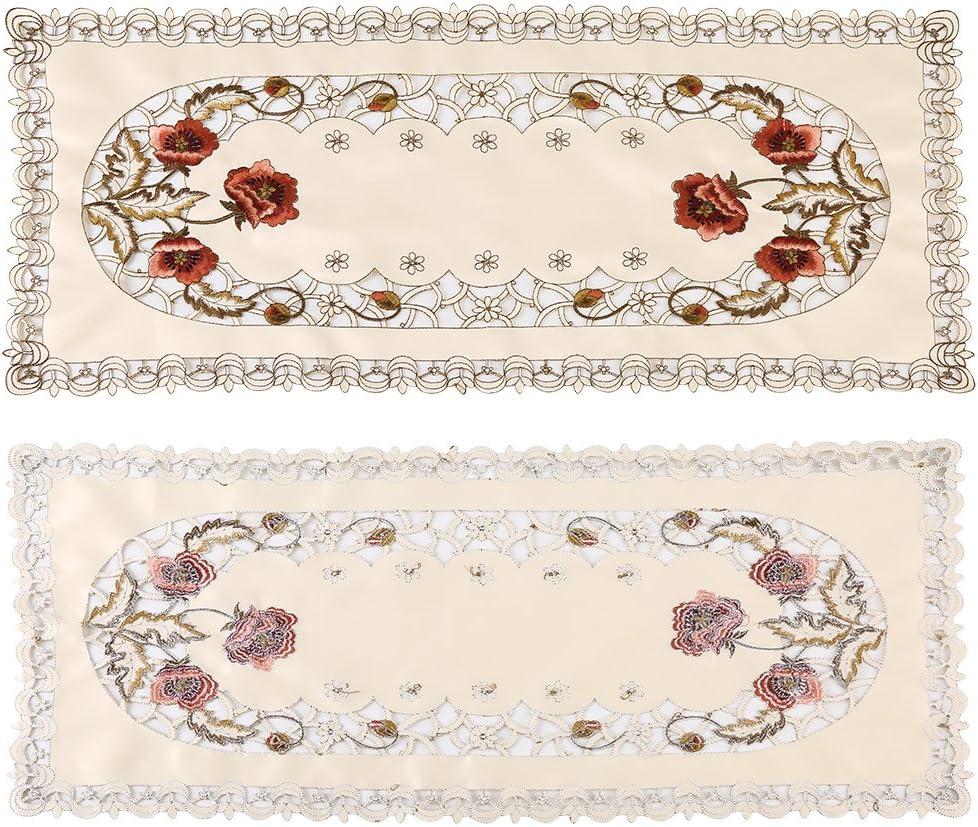 Tondo Tavolo con Motivo Floreale Ricamato Rosso del Tavolo da Pranzo dei Fiori Floreali Tovaglie di Lino da Cucina Ricamate Vuote Dellaprimavera Tavolo da Pranzo della Casa DellHotel del Partito