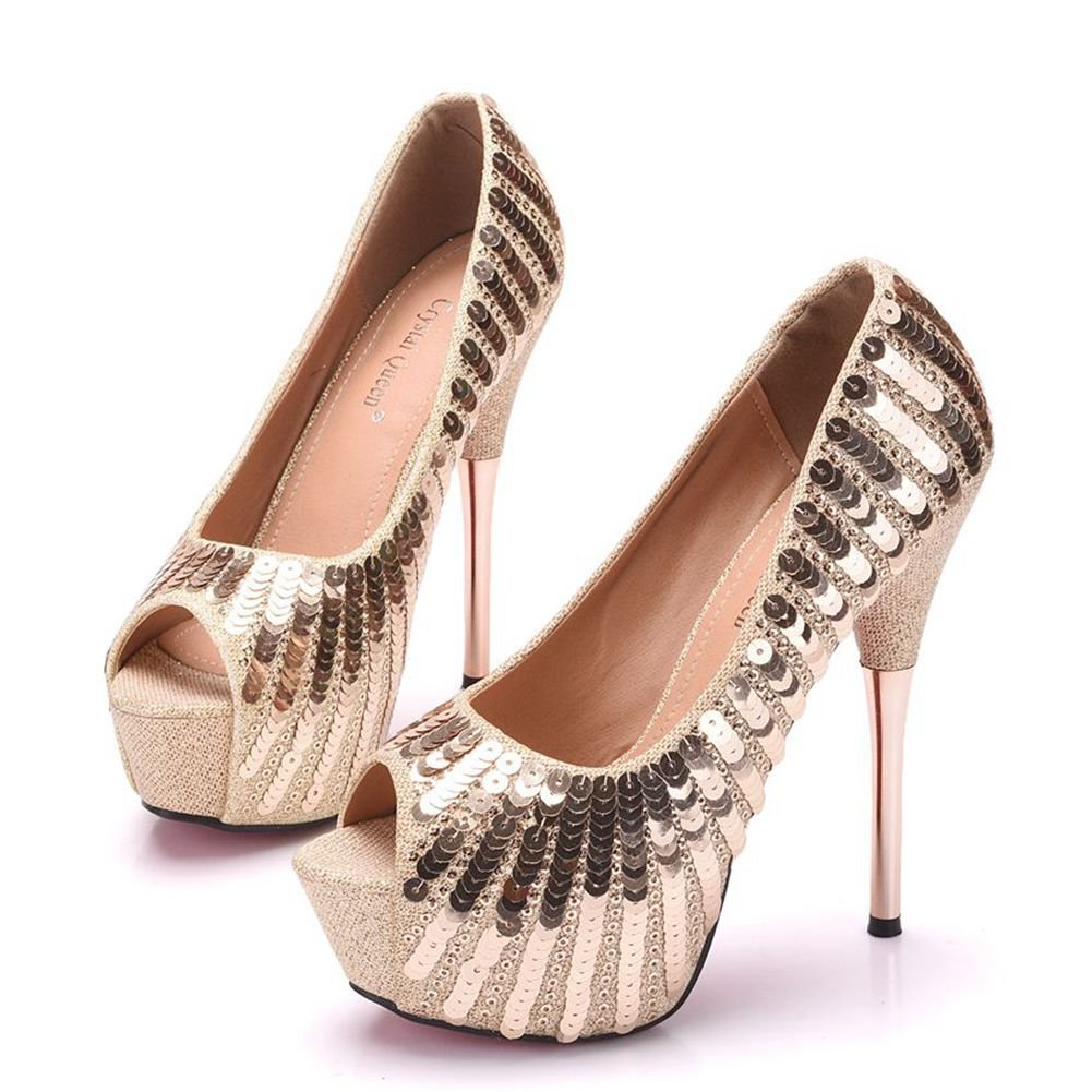 54679dc80cc Crystal Queen Women Gold Pumps Bling Bling High Heels Thin Heels Peep Toe  Sexy Paillette Heels Shoes