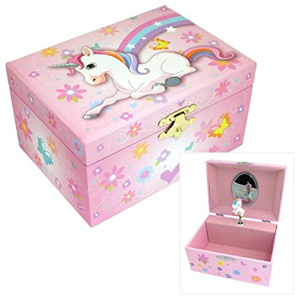 18e2d72a1918 Mele & Co. Girls Musical Unicorn Jewellery Box with Flower & Love Heart  Design