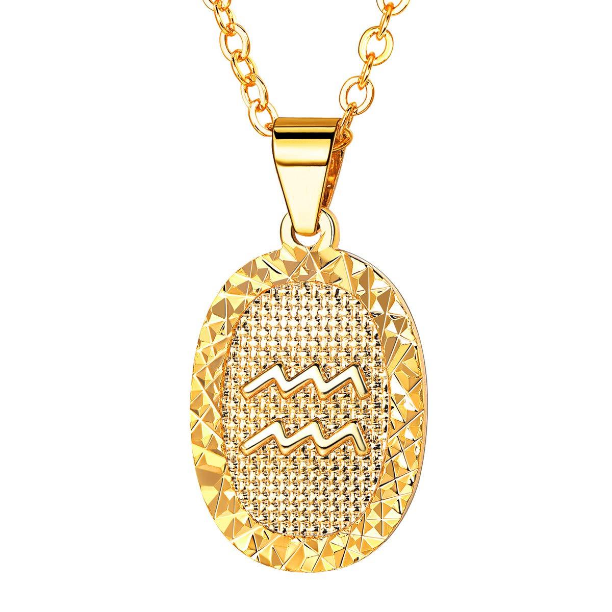 f19098971 Amazon.com: FOCALOOK Women Zodiac Sign Aquarius Jewelry 18k Gold Plated  Oval Constellation Horoscope Pendant Necklace Birthday Gift: Jewelry
