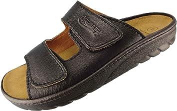 Algemare Herren Pantolette Schwarz Nappaleder Algen Kork Wechselfußbett Leder 7260_0101 Fußbettsandale Sandalette, Größe:44 EU