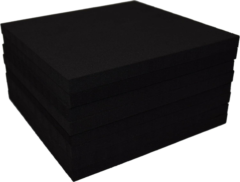 XCEL Value Pack Rubber Foam Non Slip Furniture Pads, Craft Foam, Cushion Foam, Acoustic Foam Studio Squares 6 in x 6 in x 3/8 in, Made in USA (8 Pack)