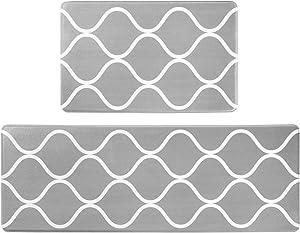 "BBONNIE Kitchen Mats Cushioned Anti Fatigue 2 Piece Set Kitchen Rug Non Slip Comfort Mats for Kitchen Floor Gray PVC Leather Standing Mat Indoor Outdoor(17.3""×27.5"" + 17.3""×47.2"")"