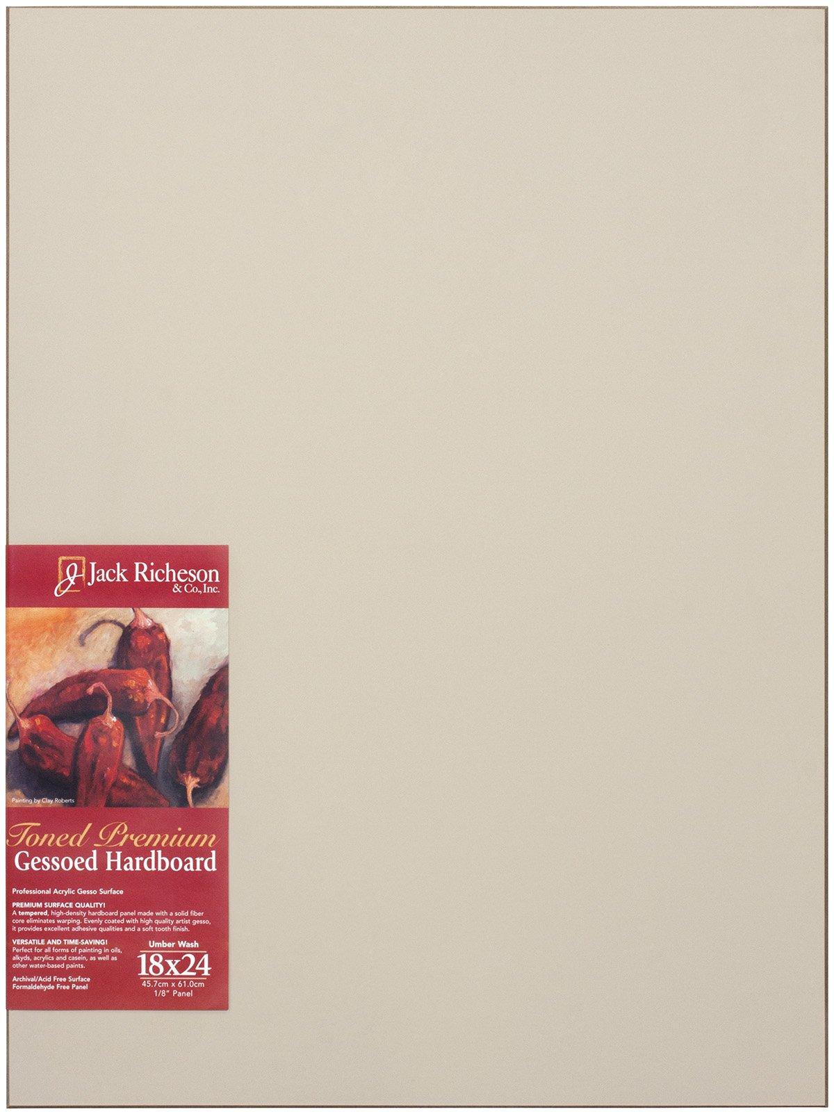 Jack Richeson Richeson Umber Wash Toned Gessoed 1/8'' Hardboard 18''x24'' by Jack Richeson