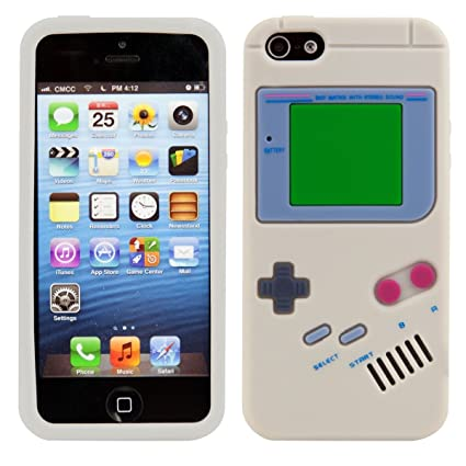 kwmobile Funda compatible con Apple iPhone SE / 5 / 5S - Carcasa de silicona y diseño Game Boy - Cover trasero de móvil
