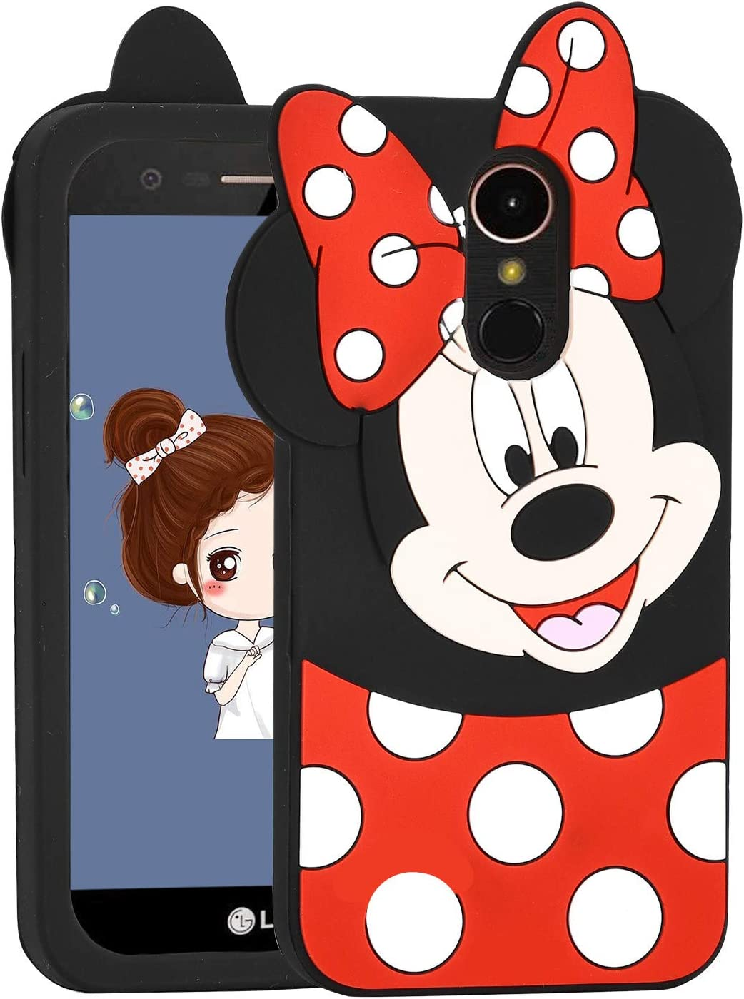 Allsky Case for LG Stylo 4 Plus(Q710) /LG Q Stylus,Cartoon Soft Silicone Cute 3D Fun Cool Cover,Kawaii Unique Kids Girls Teens Animal Character Rubber Skin Shockproof Cases for LG Stylo4 Minnie Mouse