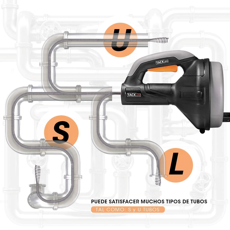 Di/ámetro de 7mm adecuado para tubos de 19-51mm HGD02A Desatascador de Desag/ües ideal herramienta Limpieza para eliminar obstrucciones en desag/ües TACKLIFE 7,5m Limpieza de desag/ües