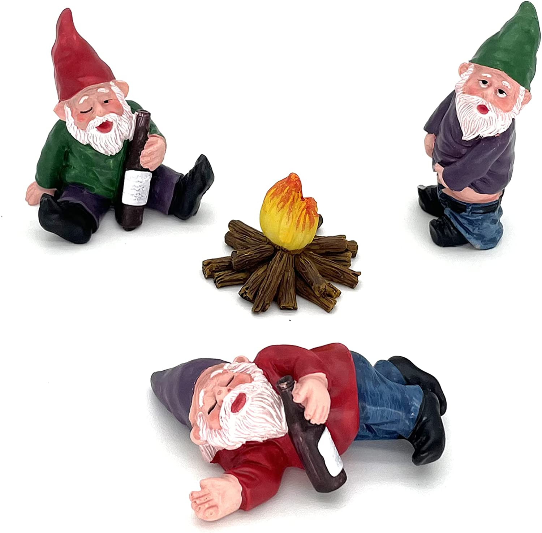 Garden Decor, 4pcs Fairy Garden Accessories Collectible Figurines Miniature Gardening Gnomes Figurines Ornaments My Little Friend Gnome - Drunk Gnomes Kit offor Fairy Garden