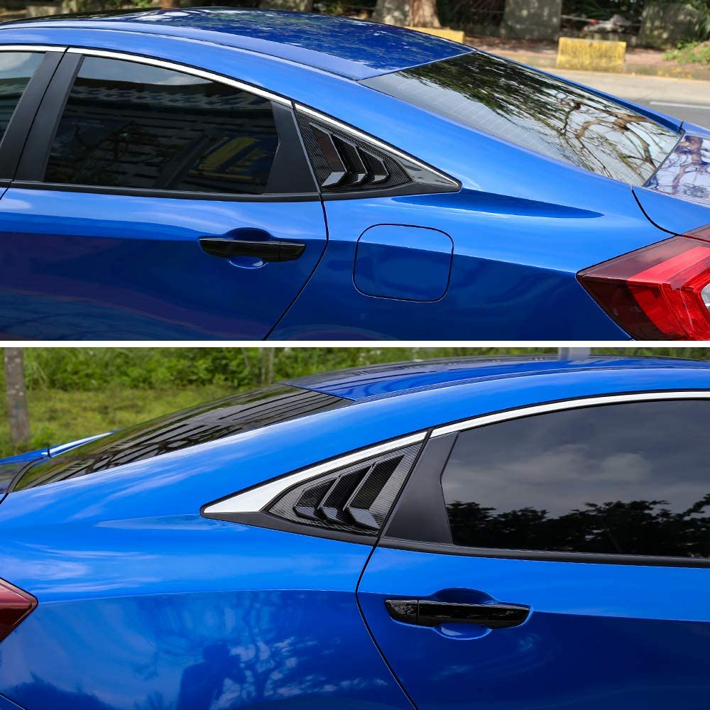 Thenice for 10th Gen Civic Racing Style Rear Side Window Louvers Air Vent Scoop Shades Cover Blinds for Honda Civic Sedan 2020 2019 2018 2017 2016 Black