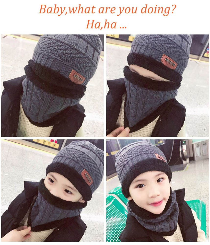Winter Beanie Scarf for Boys Girls (5-14 Years) Warm Snow Knit Hats Windproof HINDAWI Circle Scarf Kids Slouchy Skull Cap Grey by HindaWi (Image #6)