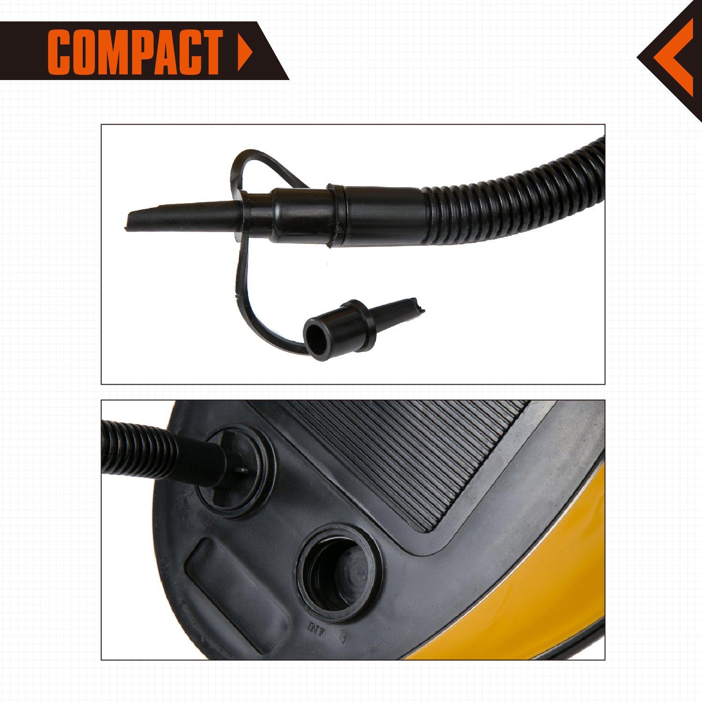 KingCamp Bellow Foot Air Pump for Camping Air Mattress Bed Pad Mat (Yellow 5L)